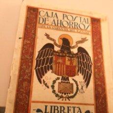 Documentos bancarios: ANTIGUA LIBRETA CORRIENTE FRANQUISTA EXPEDIDA 1945 CAJA POSTAL DE AHORROS CON LA GARANTÍA DEL ESTADO. Lote 138559446