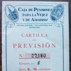 Documentos bancarios: CARTILLA DE PREVISION PARA SELLOS Y AHORRO CAJA DE PENSIONES PARA LA VEJEZ Y AHORROS . Lote 139279422