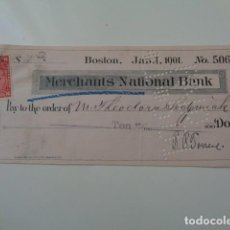 Documentos bancarios: ESTADOS UNIDOS. CHEQUE BANCO MERCHANTS NATIONAL BANK. BOSTON. 1901. 100 DOLLARS. VIÑETA 2 CENTS.. Lote 140563654