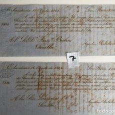 Documentos bancarios: VIUDA DE VALLS , MÁLAGA , 1866 , PAGARÉ LOTE DE DOS UNIDADES , AGUSTIN GABILONDO. Lote 140915638