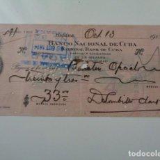 Documentos bancarios: CUBA. BANCO NACIONAL DE CUBA EN HABANA. TALON BANCARIO, 1914. Lote 141153438