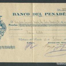 Documentos bancarios: RECIBO BANCO DEL PENADES CAMBIO MONEDA DESPUES DE LA GUERRA AÑO 1939 VILAFRANCA DEL PENEDES. Lote 146163322