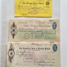 Documentos bancarios: GB UK 3 CHEQUES DE BANCO 1966-1949-1954 BANK OF SCOTLAND LIMITED REINO UNIDO. Lote 147525774
