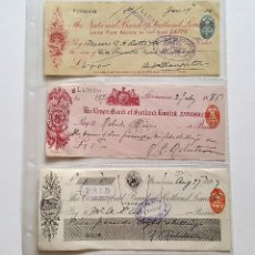 Documentos bancarios: GB UK 3 CHEQUES DE BANCO 1924-1888-1899 BANK OF SCOTLAND LIMITED REINO UNIDO. Lote 147526486