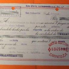Documentos bancarios: LETRA DE CREDITO. AÑO 1966. BANCO DE SANTANDER. SELLOS DE ZARAGOZA Y SAN SEBASTIAN.. Lote 147745062
