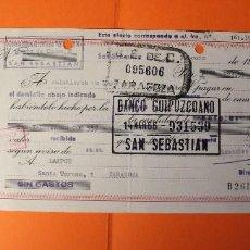Documentos bancarios: LETRA DE CREDITO. AÑO 1966. BANCO GUIPUZCOANO. SELLOS DE ZARAGOZA Y SAN SEBASTIAN.. Lote 147745342