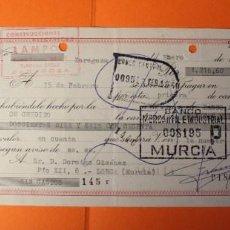 Documentos bancarios: LETRA DE CREDITO. AÑO 1965. BANCO MERCANTIL E INDUSTRIAL. SELLOS DE ZARAGOZA Y MURCIA.. Lote 147745726