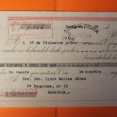 Documentos bancarios: LETRA DE CREDITO. AÑO 1956. BANCO DE VIZCAYA. SELLOS DE ZARAGOZA.. Lote 147746814