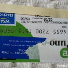 Documentos bancarios: TARJETA VISA ELECTRÓN BANCO UNO E CADUCIDAD 2006. Lote 149238290