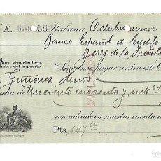 Documentos bancarios: CHEQUE. N.GELATS & CA. 1930. HABANA, CUBA. VER. Lote 149306370