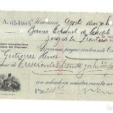 Documentos bancarios: CHEQUE. N.GELATS & CA. 1930. HABANA, CUBA. VER. Lote 149306422