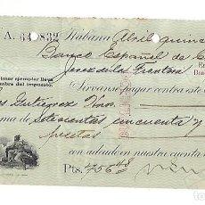 Documentos bancarios: CHEQUE. N.GELATS & CA. 1930. HABANA, CUBA. VER. Lote 149306818