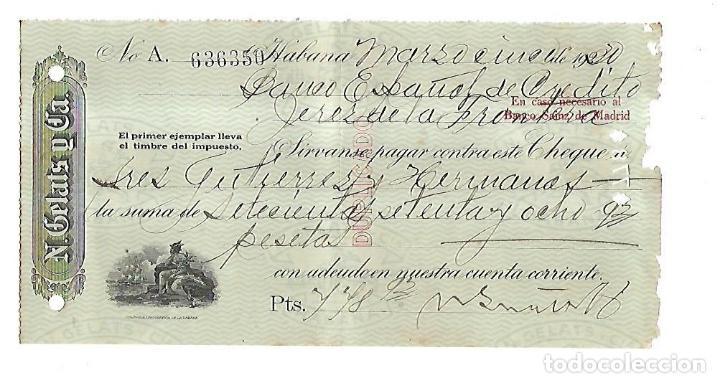 CHEQUE. N.GELATS & CA. 1930. HABANA, CUBA. VER (Coleccionismo - Documentos - Documentos Bancarios)