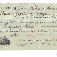 Documentos bancarios: CHEQUE. N.GELATS & CA. 1930. HABANA, CUBA. VER. Lote 149306866