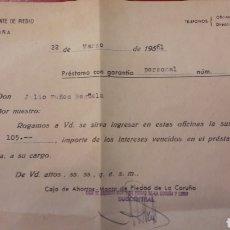Documentos bancarios: CAJA AHORROS MONTE PIEDAD DE CORUÑA PRESTAMO 1961. Lote 151004088