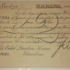 Documentos bancarios: LETRA DE CAMBIO DE LA EMPRESA J.M. BORJES & CIA.HABANA 1891 . Lote 151375578
