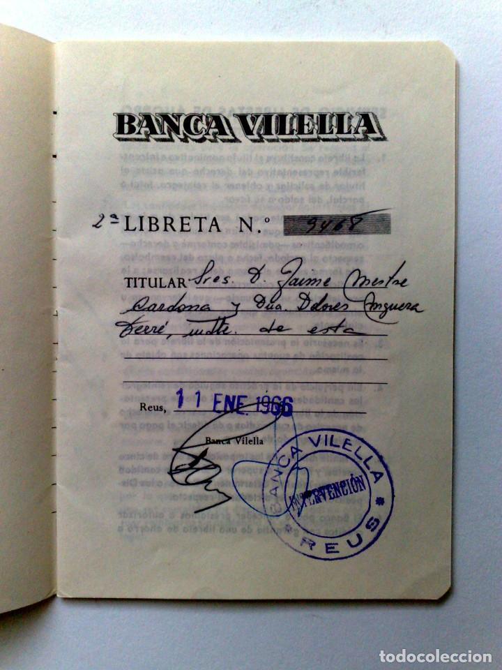 Documentos bancarios: LIBRETA DE AHORRO,BANCA DE VILELLA (COMPL.) EXPEDIDO 1966 EN REUS - Foto 2 - 151805498