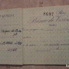 Documentos bancarios: ANTIGUO LIBRO DE CHEQUES.BANCO DE VIZCAYA.SEVILLA 1965. Lote 151885870