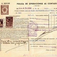 Documentos bancarios: POLIZAS BOLSA DE BARCELONA 1930-1944 CLASE 10-11 BANCA JOVER Y Cº. Lote 152404410