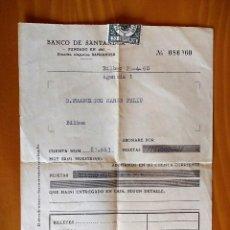 Documentos bancarios: ABONARÉ DE 4.000 PESETAS EN CUENTA BANCO DE SANTANDER.BILBAO 1960. Lote 152449282