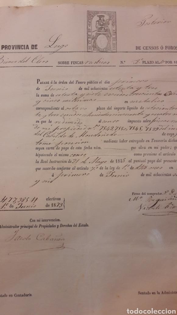 1885 CENSOS FOROS LUGO PAGARÉ ORDEN TESORO (Coleccionismo - Documentos - Documentos Bancarios)