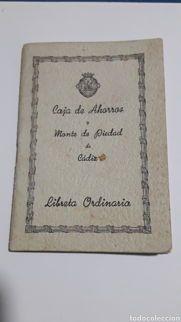 LIBRETA CAJA DE AHORROS Y MONTE PIEDAD DE CADIZ (Coleccionismo - Documentos - Documentos Bancarios)
