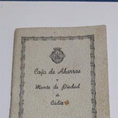 Documentos bancarios: LIBRETA CAJA DE AHORROS Y MONTE PIEDAD DE CADIZ. Lote 153257102