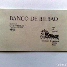Documentos bancarios: TALONARIO ANTIGUO DEL BANCO DE BILBAO,AÑOS '70,SUCURSAL DE REUS (DESCRIPCIÓN). Lote 153309154