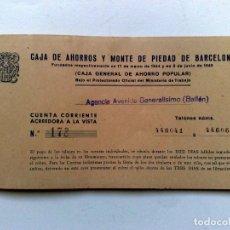 Documentos bancarios: TALONARIO ANTIGUO DE LA CAJA DE AHORROS Y MONTE DE PIEDAD DE BARCELONA (DESCRIPCIÓN). Lote 153309506