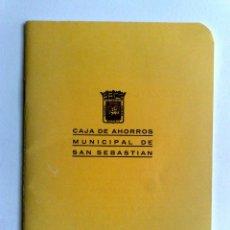 Documentos bancarios: LIBRETA CUENTA CORRIENTE,CAJA DE AHORROS MUNICIPAL DE SAN SEBASTIAN (DESCRIPCIÓN). Lote 153310926