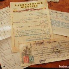 Documentos bancarios: FACTURAS FARMACIA LABORATORIOS NICOLICH + PAGARÉ LETRA 1930. Lote 153408686