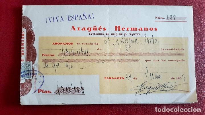LOTE DE 5 CHEQUE. ARAGÜES HERMANOS, SUCESORES DE HIJO DE P. MARTIN. ZARAGOZA 1937 (Coleccionismo - Documentos - Documentos Bancarios)