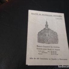 Documentos bancarios: BOLETIN DE INFORMACION FINANCIERA BANCO ESPAÑOL DE CREDITO AÑO 1946. Lote 156221710