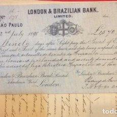 Documentos bancarios: PAGARE LONDON & BRAZILIAN BANK, SUSCRIPCION LIGA PATRIOTICA ESPAÑOLA EN SAO PAULO 1898, CARTA. Lote 156222718
