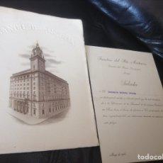 Documentos bancarios: INAUGURACION BANCO DE ARAGON E INVITACION A LA MISMA SR DE ALMAZAN SORIA. AÑO 1955. Lote 156232214