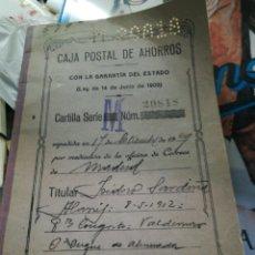 Documentos bancarios: CARTILLA CAJA POSTAL DE AHORROS 1929. Lote 156526945