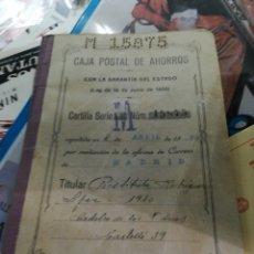 Documentos bancarios: CARTILLA CAJA POSTAL DE AHORROS 1930. Lote 156528117