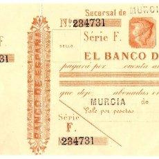 Documentos bancarios: UN PAGARÉ O TALONE DEL BANCO DE ESPAÑA FINALES SIGLO XIX - SERIE F SIN CIRCULAR - MURCIA. Lote 158235832