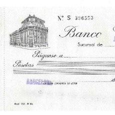 Documentos bancarios: BANCO CENTRAL DE BARCELONA - TALÓN BANCARIO AÑOS 40/50 SIN USO.. Lote 158942006