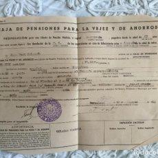 Documentos bancarios: DOCUMENTO BANCARIO PROPOSICIÓN PARA LIBRETA DE PENSIÓN VITALICIA DEL ACUARELISTA JOAN FORT GALCERÁN. Lote 159516262