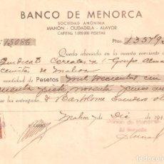 Documentos bancarios: BANCO DE MENORCA UN CHEQUE BANCARIO DE MAHÓN 12 DICIEMBRE 1942. Lote 160778926