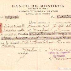 Documentos bancarios: BANCO DE MENORCA UN CHEQUE BANCARIO DE MAHÓN 6 DE MARZO 1942. Lote 160779078