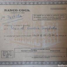Documentos bancarios: DOCUMENTO BANCO COCA 1976. Lote 162904564