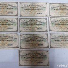 Documentos bancarios: 18188 - BANCO NACIONAL DE MUTUALIDADES - 10 CUPONES. Lote 163695810