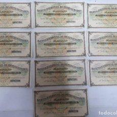Documentos bancarios: 18192 - BANCO NACIONAL DE MUTUALIDADES - 10 CUPONES. Lote 163696826