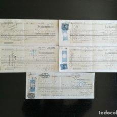 Documentos bancarios: LOTE DE 5 LETRAS DE CAMBIO DIFERENTES FISCALES .ZARAGOZA 1878. Lote 163786654