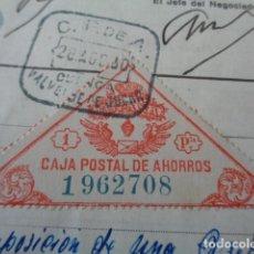 Documentos bancarios: VALVERDE DE JUCAR. CUENCA. CARTILLA AHORROS. IMPOSICIÓN 1930. VIÑETA CAJA POSTAL 1 PESETA.. Lote 163812942