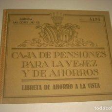 Documentos bancarios: CAJA DE PENSIONES PARA LA VEJEZ Y DE AHORROS .LAS CORTS 1962 . LIBRETA A LA VISTA.. Lote 164694114
