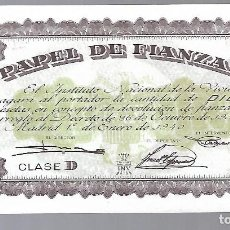 Documentos bancarios: C150- PAPEL DE FINANZAS DEL INSTITUTO NACIONAL DE LA VIVIENDA DE 10 PTAS DEL 1 - ENERO - 1940. Lote 164745970