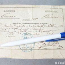 Documentos bancarios: CÉDULA DE VECINDAD PARA CABEZAS DE FAMILIA DE LA PROVINCIA DE CÁCERES. DISTRITO DE PLASENCIA. 1888. Lote 167024660